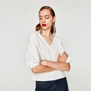 Zara white top with puff sleeves
